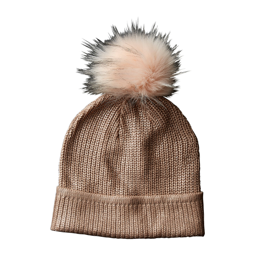 Rose Gold Glam Pom Pom Beanie