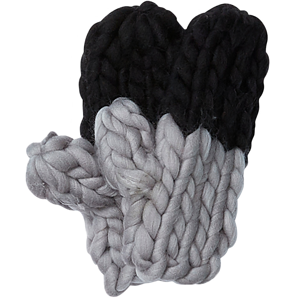 Black & Gray Chunky Knit Mittens