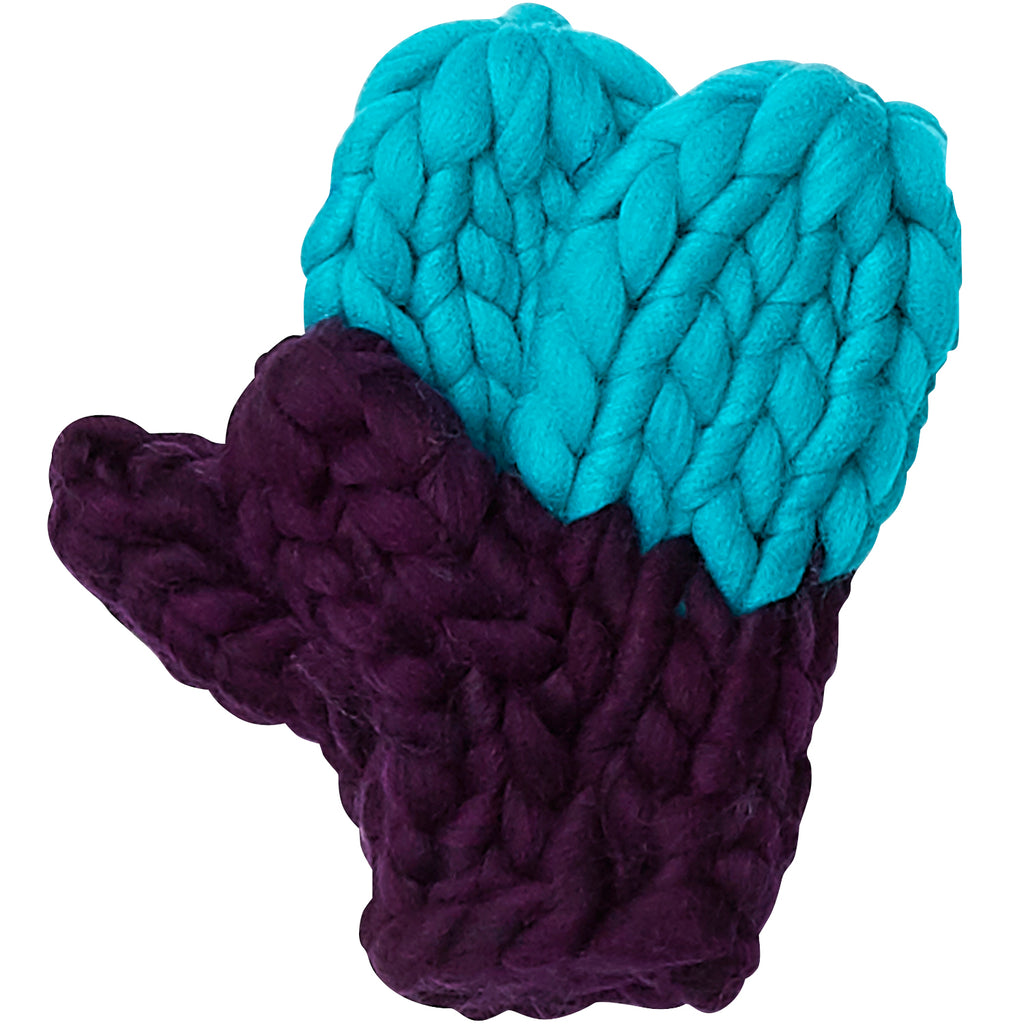 Blue & Purple Chunky Knit Mittens