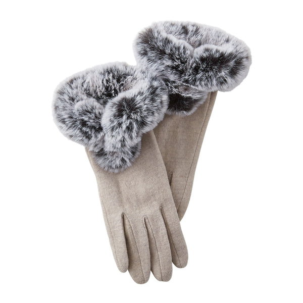 Beige Sutton Faux Fur Gloves