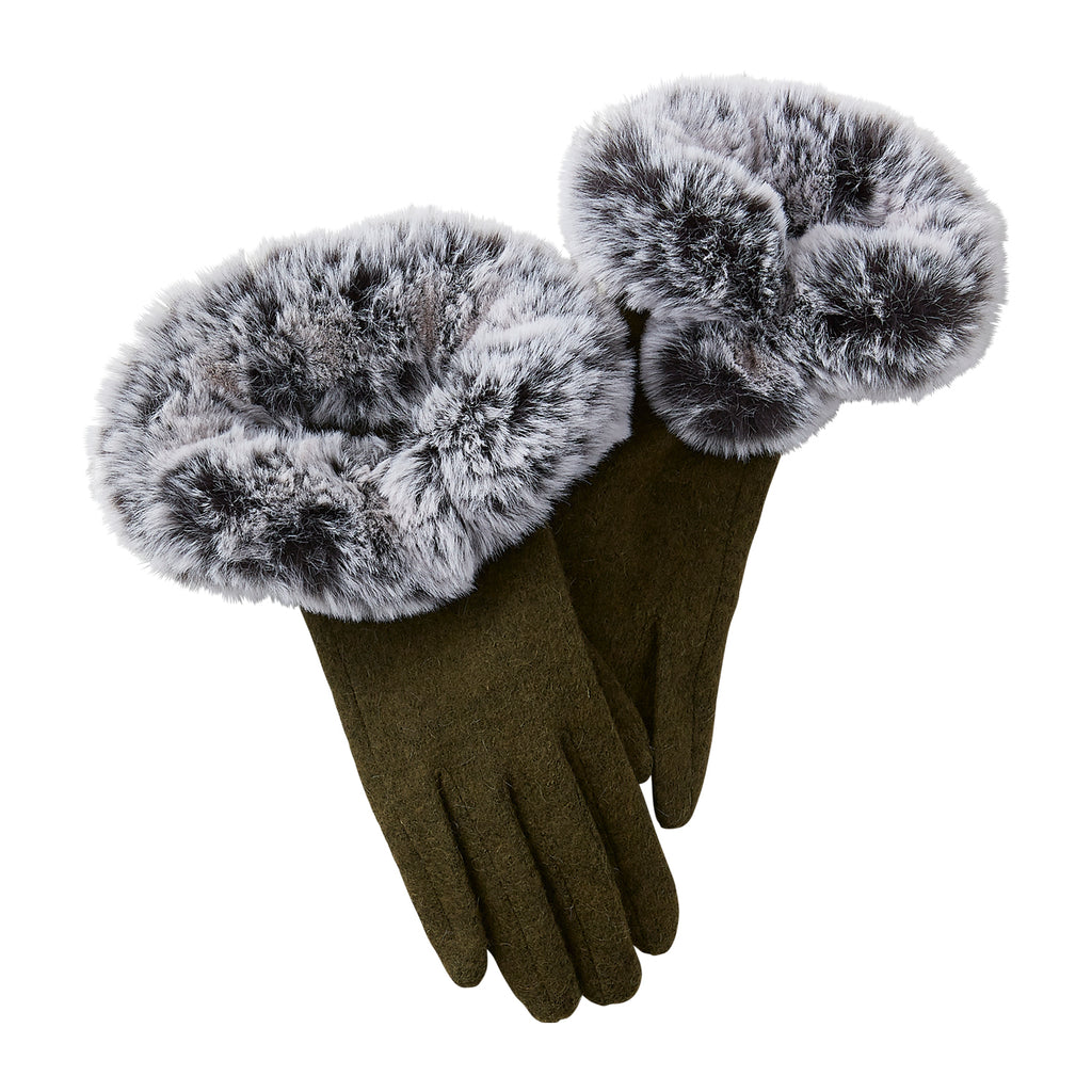 Pine Sutton Faux Fur Gloves