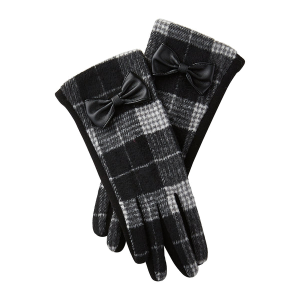Black & White Kennedy Plaid Bow Gloves