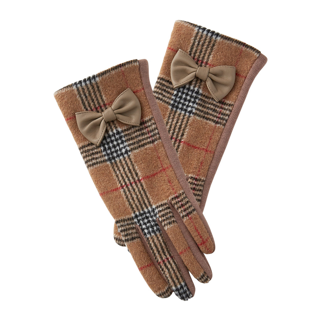 Khaki & Black Kennedy Plaid Gloves