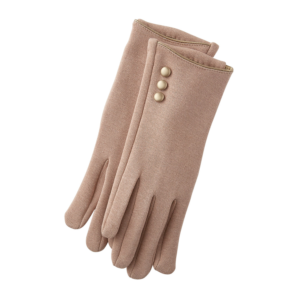 Beige Edward Button Gloves