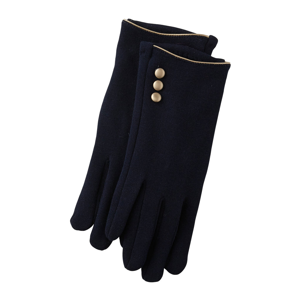 Navy Edward Button Gloves