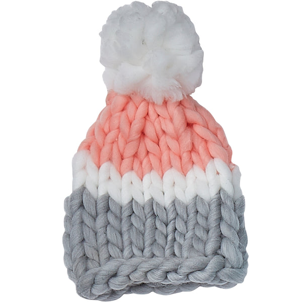 Pink & Gray Chunky Knit Hat