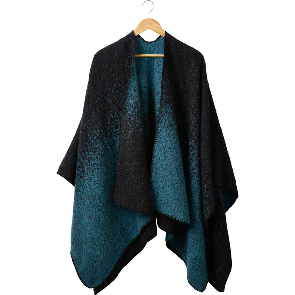 Spruce & Black Comfy Ombre Ruana Poncho