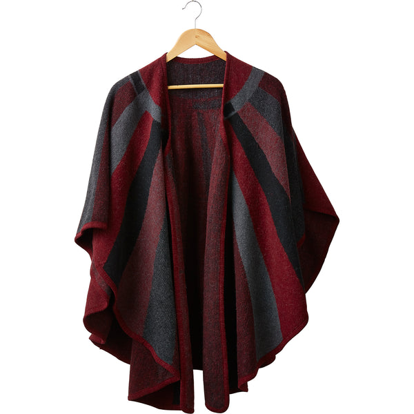 Cynthia Wine Stripes Wool Ruana Poncho