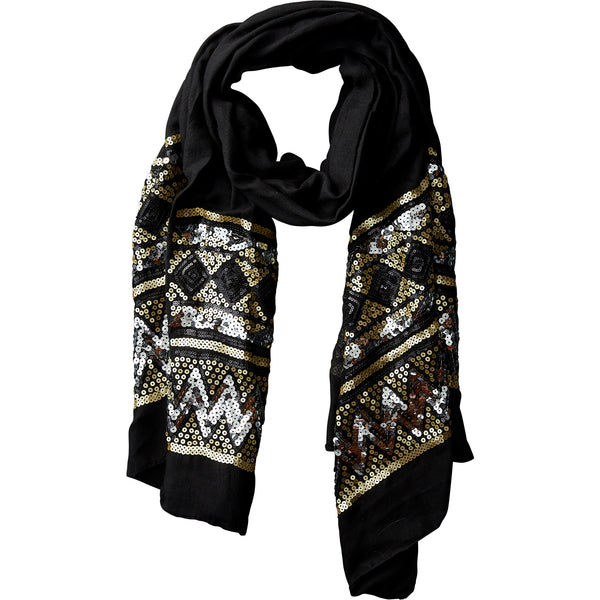 Black Eleanor Sequin Scarf