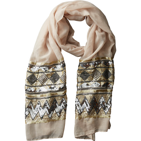 Beige Eleanor Sequin Scarf