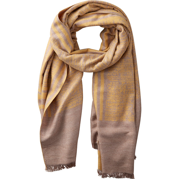 Yellow & Beige Temple Stripe Scarf