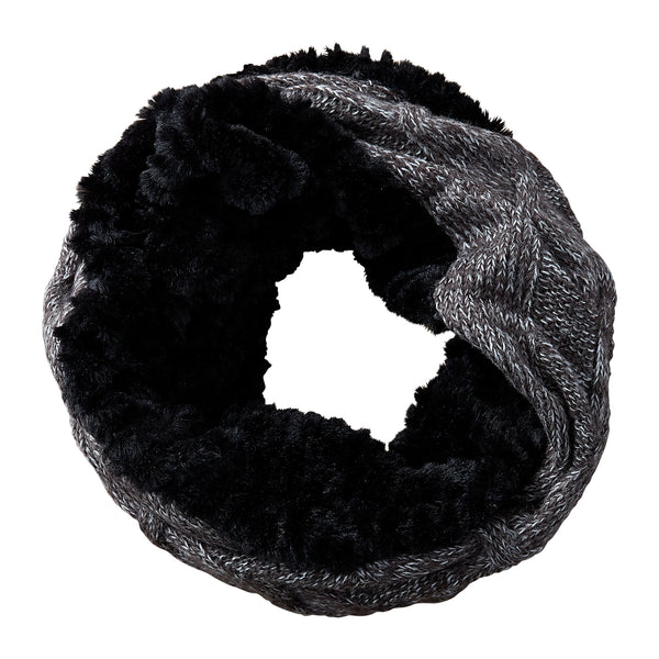 Black Faux Fur Knit Cowl