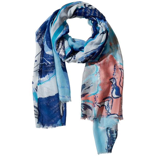 Blue Golden Summer Floral Scarf