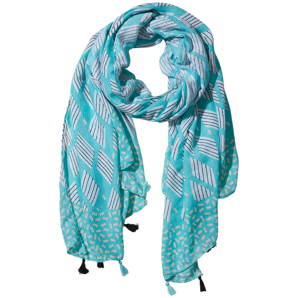 Teal Cross Hatch Fringe Scarf