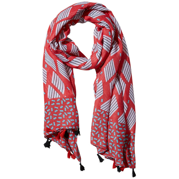 Coral Cross Hatch Fringe Scarf