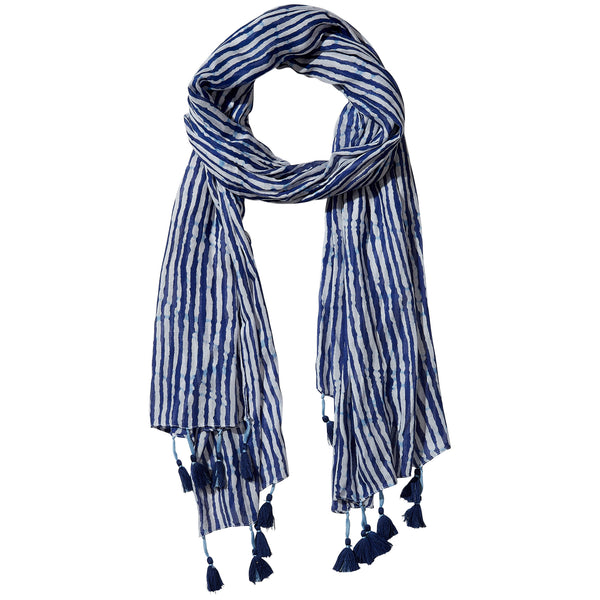 Navy Long Stripe Finge Scarf