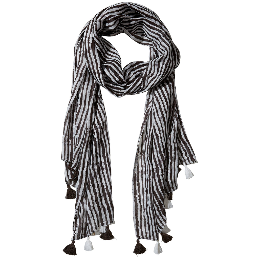 Black Long Stripe Fringe Scarf