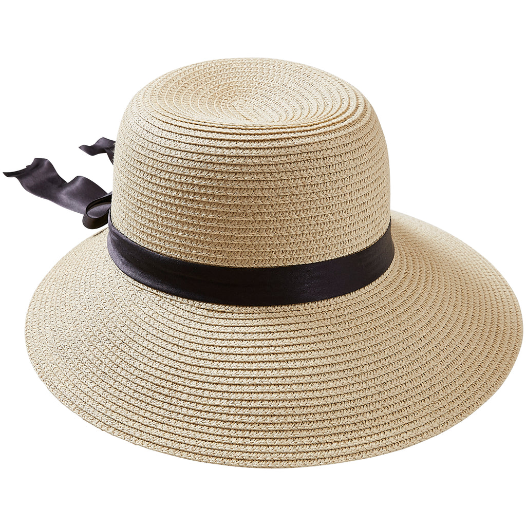 Straw With Black Bow Classic Madeline Hat