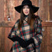 Spiced Wine Patrick Plaid Button Poncho