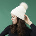 Snap On Pom Pom Beanie - White