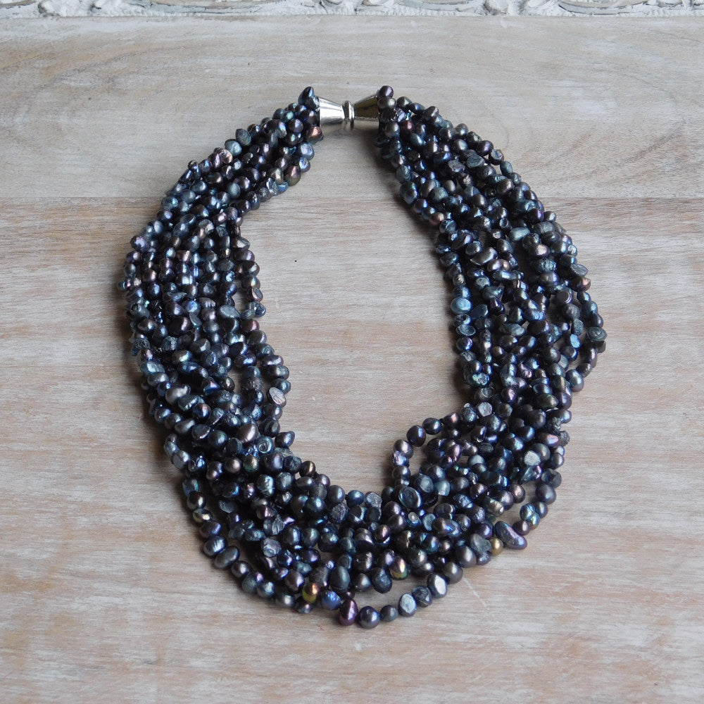 9 Strand Pearl Necklace - Blue