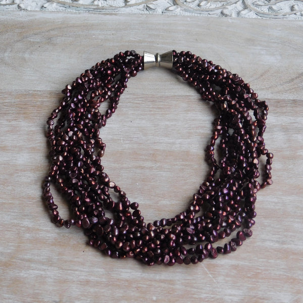 9 Strand Pearl Necklace - Merlot