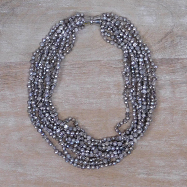 9 Strand Pearl Necklace - Silver
