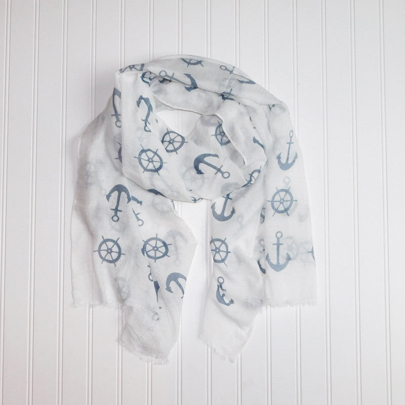 Lightweight Anchors Scarf - White