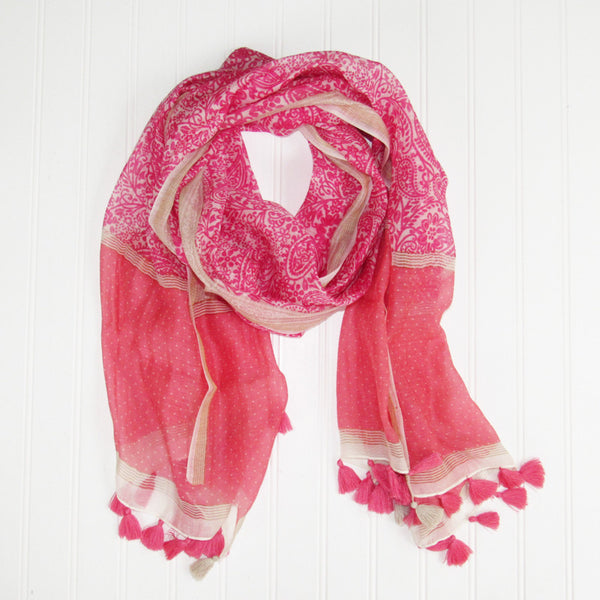 Annia Paisley Scarf - Pink
