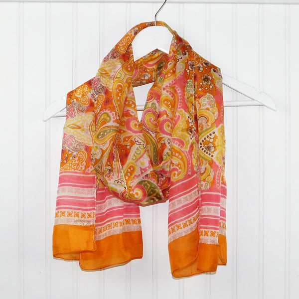 Arabell Floral Silk Scarf - Orange