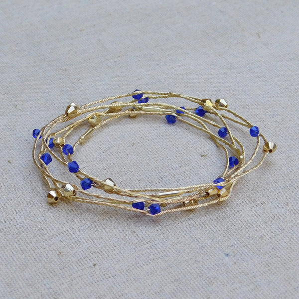 Delicate Crystal Bangles - Blue