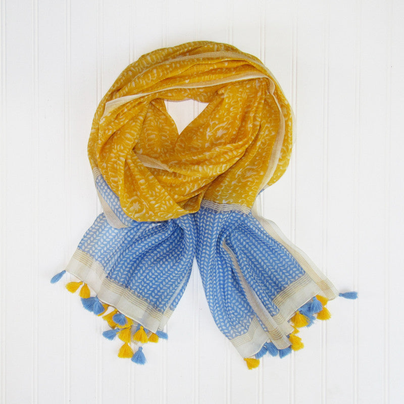 Badra Scarf with Tassels - Yellow
