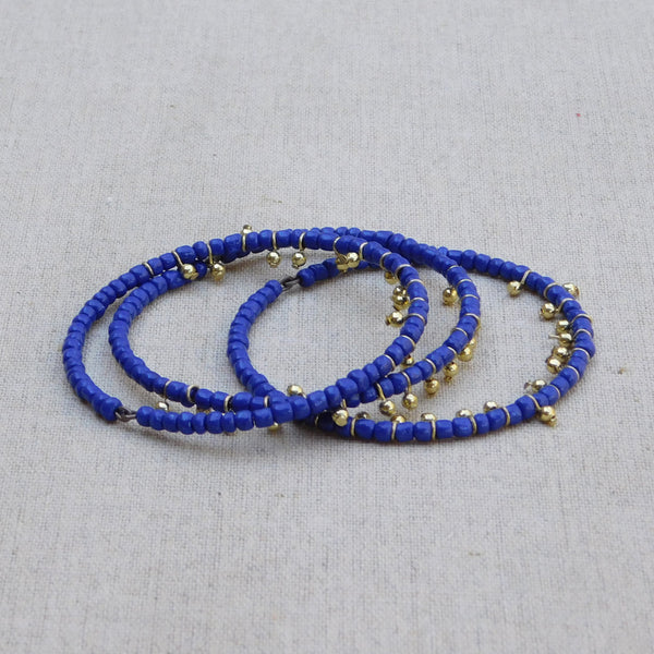 Dancing Beaded Bangle - Blue