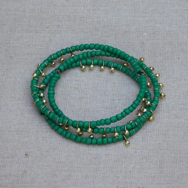 Dancing Beaded Bangle - Green