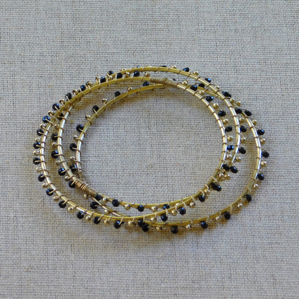 Golden Beaded Bracelet - Black
