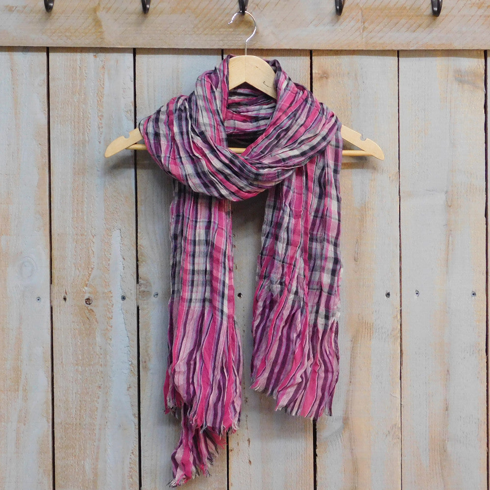 Feather Fringe Plaid Scarf - Pink
