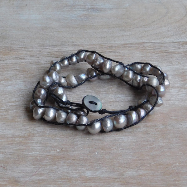 Pearl & Faux Leather Bracelet - Silver