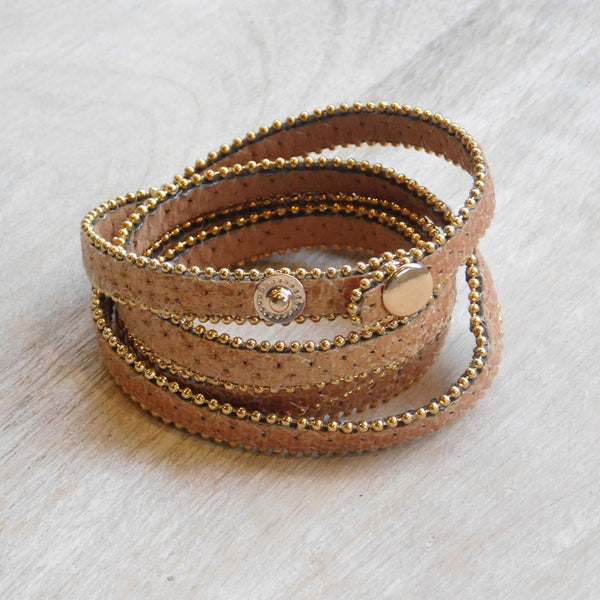 Long Faux Leather Wrap - Copper