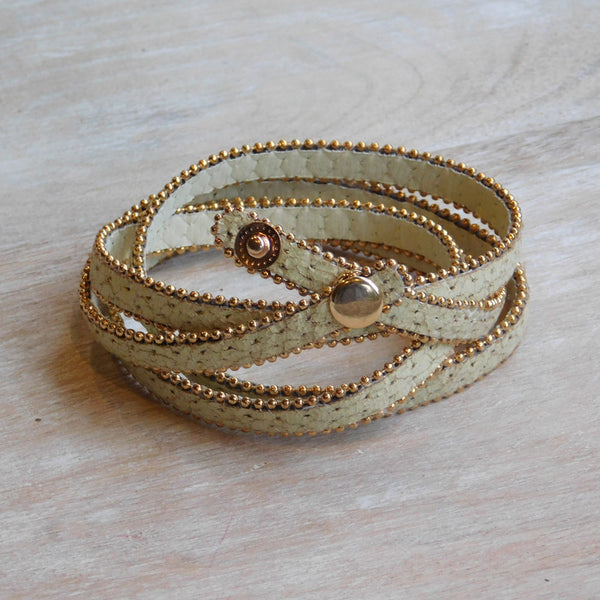 Long Faux Leather Wrap - Cream