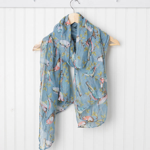 Vintage Storybook Bird Scarf - Blue