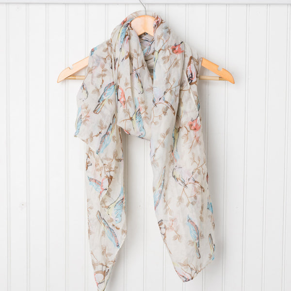 Vintage Storybook Bird Scarf - Cream