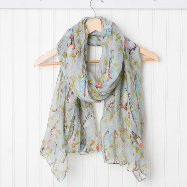 Vintage Storybook Bird Scarf - Gray