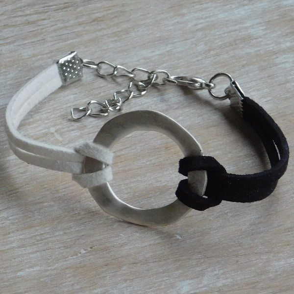 Two Tone Faux Leather Bracelet - Black & White