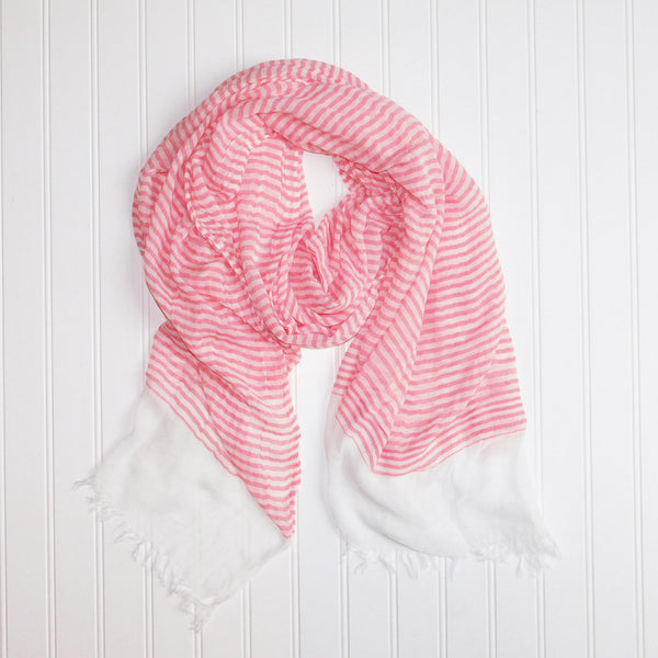 Soft Beach Stripes Scarf - Coral
