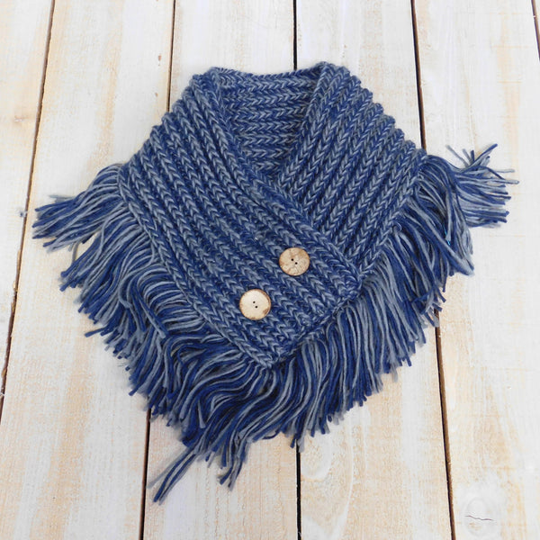 Fringed Collar Wrap - Navy/Gray