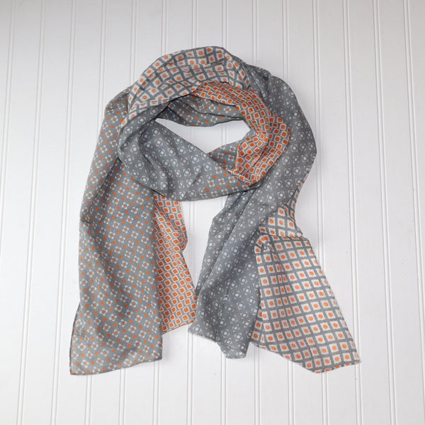 Chloe Geo Floral Scarf - Orange Gray