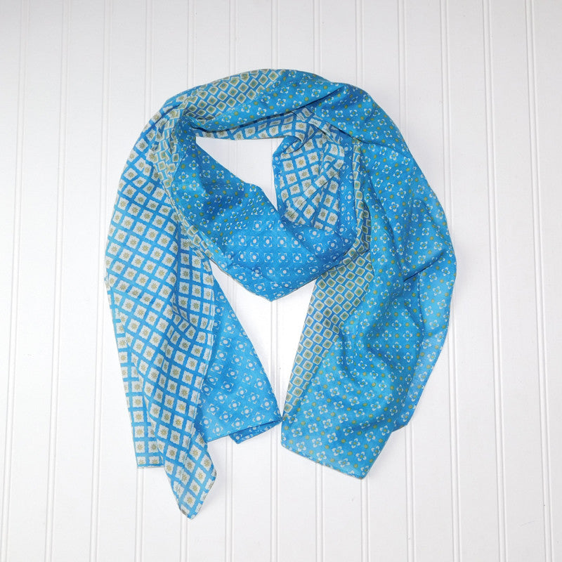 Chloe Geo Floral Scarf - Turquoise