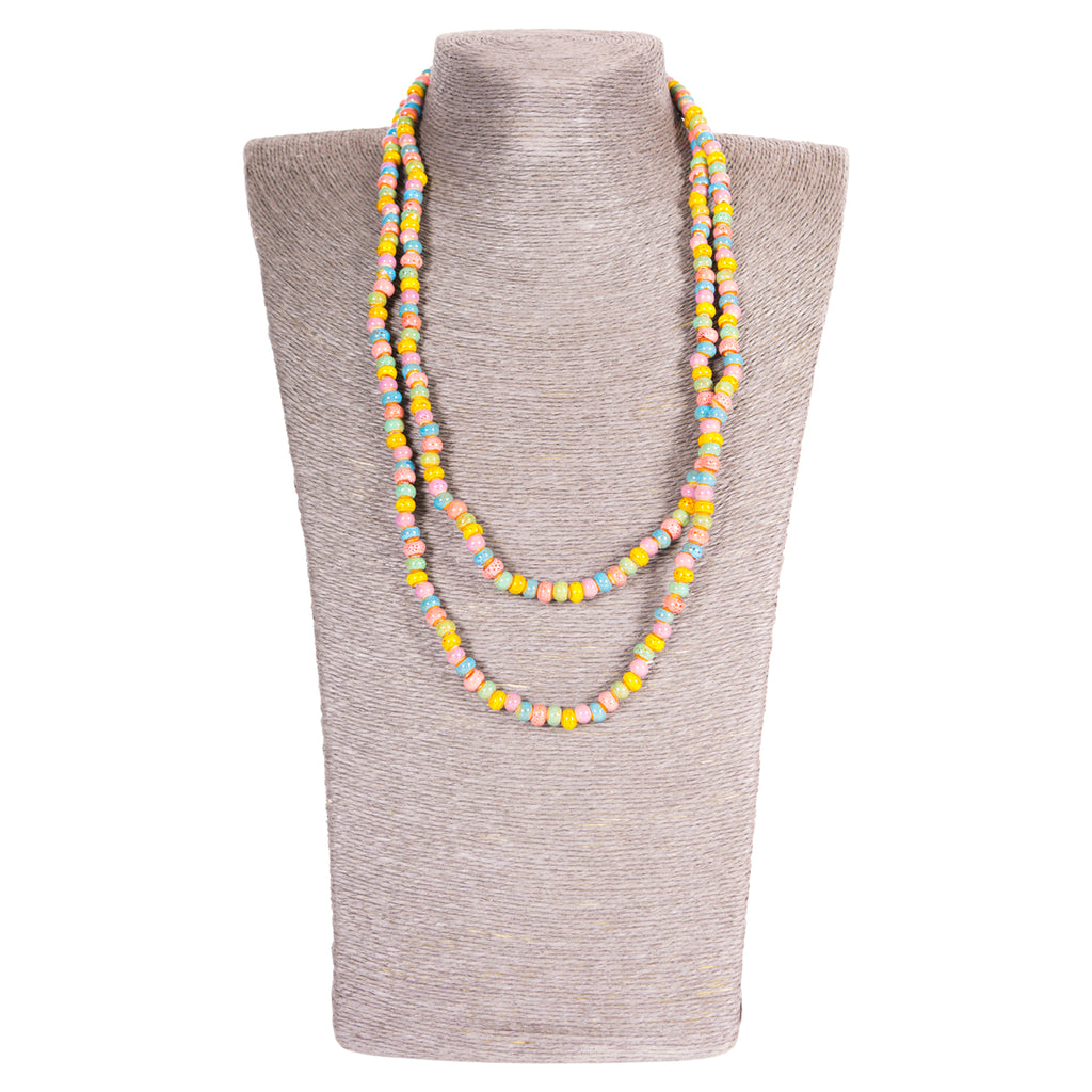 Clay Mini Round Long Wrap Necklace - Spring Colors