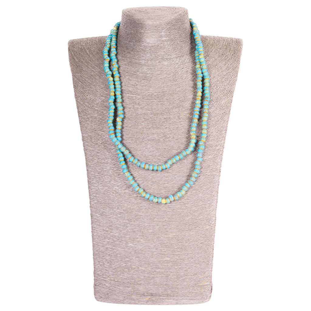 Clay Mini Round Long Wrap Necklace - Turquoise