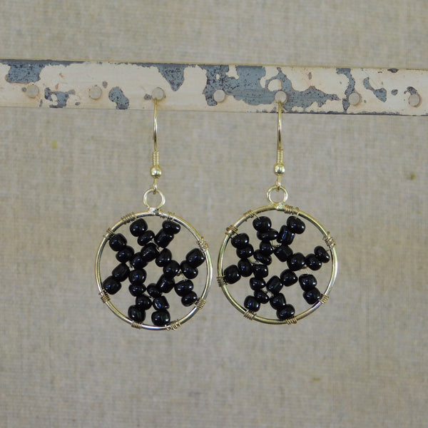 Abstract Beaded Earring - Black